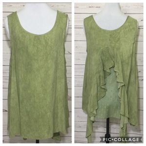 Sage Green Blouse With Ruffle/Lace Back